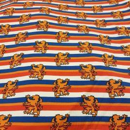 Katoen tricot rood wit blauw leeuw