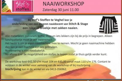 Workshop zaterdag 30 juni 2018